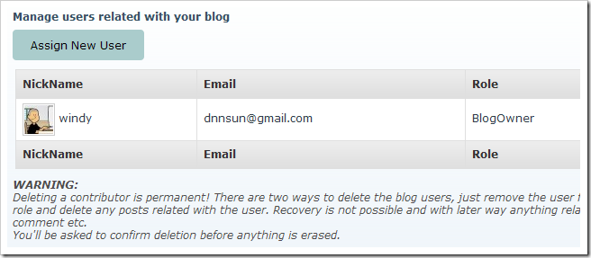 user grid in dnn blog module