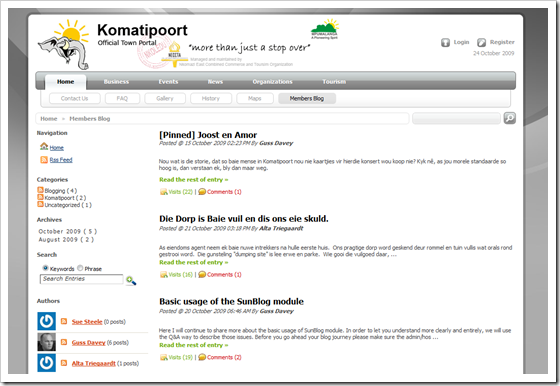 Komatipoort in SunBlogNuke Showcase Gallery
