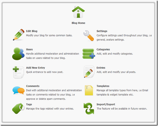 New Admin Area for SunBlogNuke